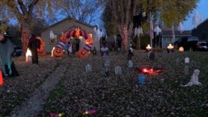 Trick-or-Treaters Venture To Halloween Home