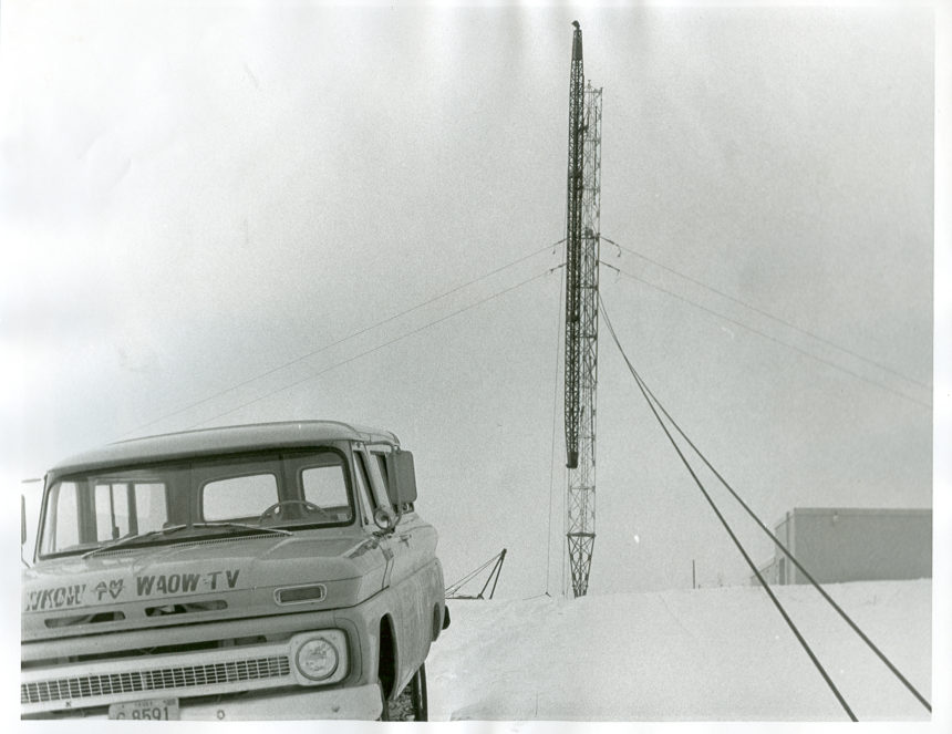 WXOW tower and vehicle