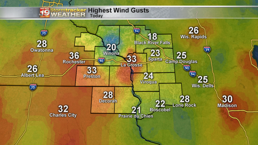 Highest Wind Gusts Today
