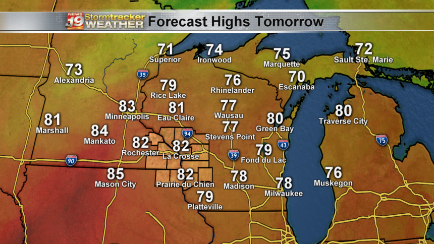 State - Forecast Highs Tomorrow