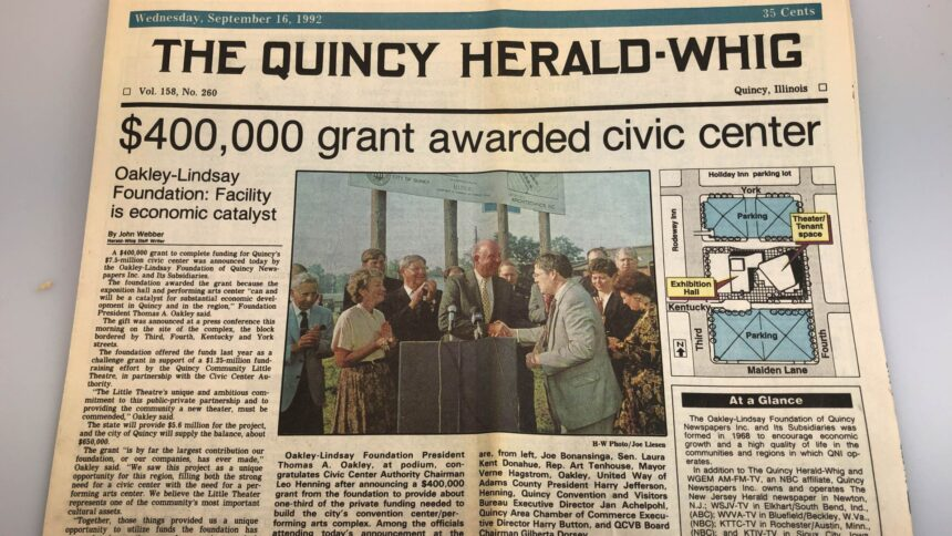 9-16-1992 OLC receives grant