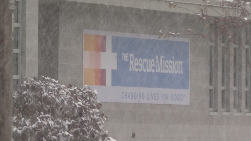 THE RESCUE MISSION SIGN SNOW