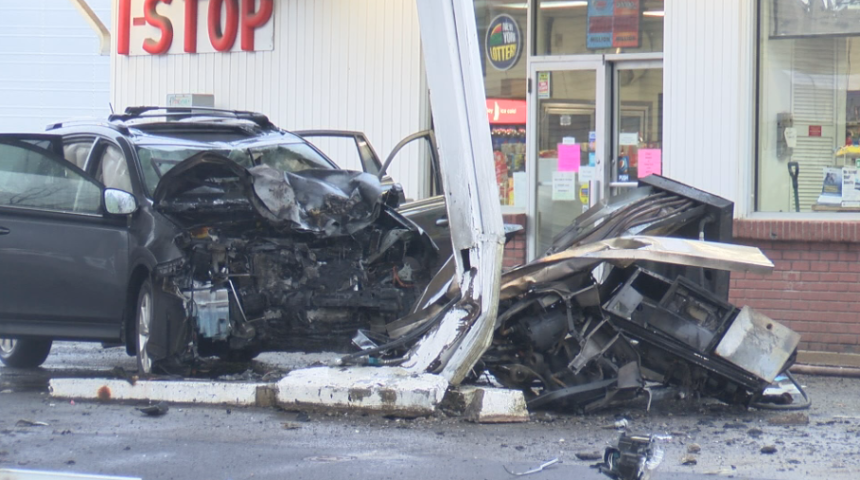 Car into Gas Station