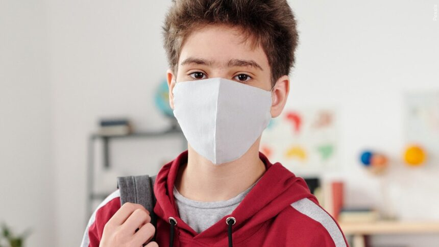 Student in a mask
