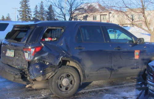 Minnesota State Patrol vehicle damaged after crash