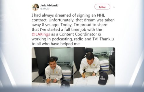 Jack Jablonski tweet about NHL contract