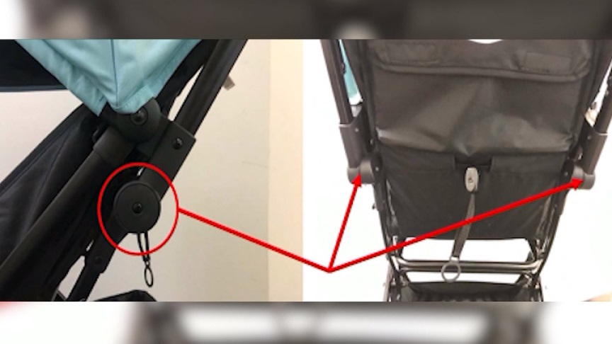 highlighted joints on recalled stroller