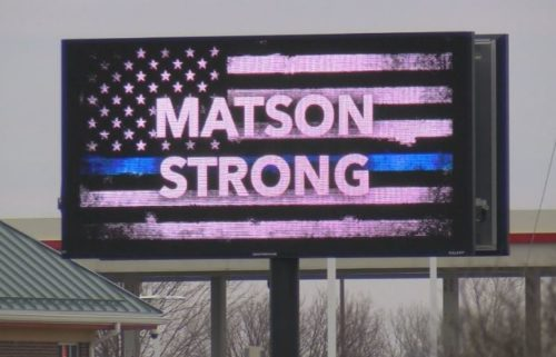 Albert Lea billboard recognizing Officer Matson