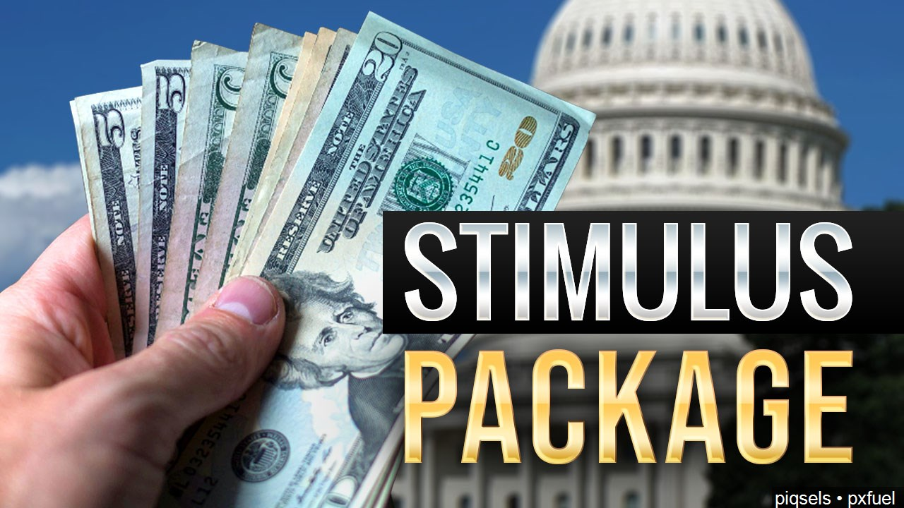 stimulus package graphic, us capitol and cash