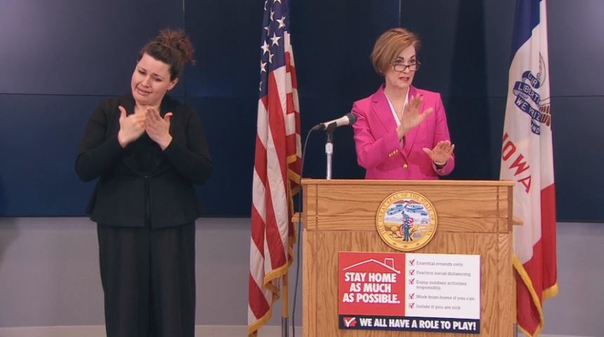 Governor Kim Reynolds at Friday's briefing