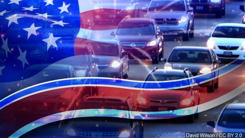 Cars, flag graphic