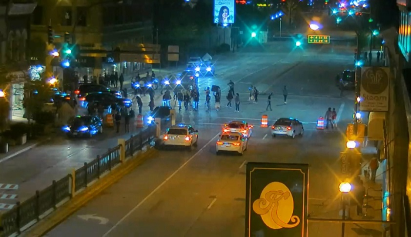 protesters blocking downtown Rochester street