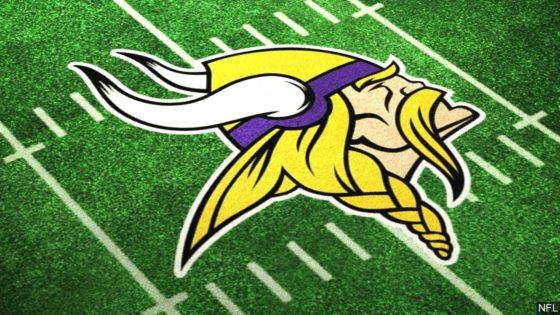 Minnesota Vikings logo on field