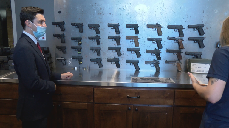 Reporter Alex Tejada speaks to the manager of Heartland Gun Club and Range