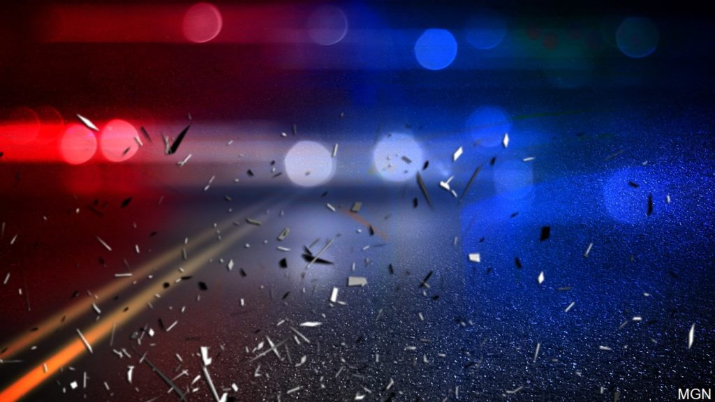 Police lights, shattered glass graphic