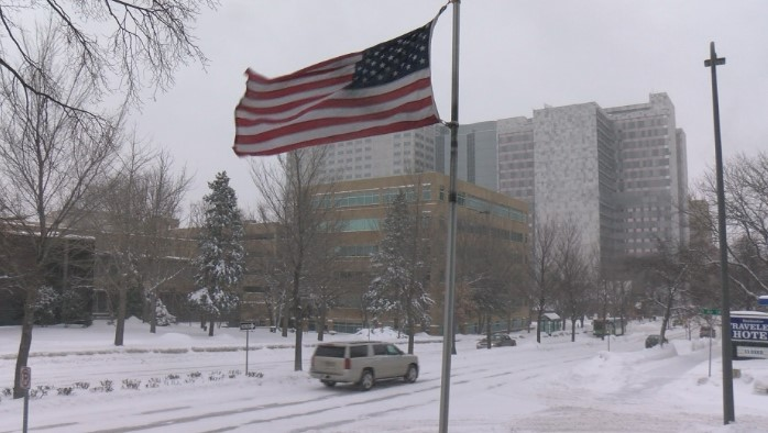 Downtown Rochester with view of Mayo Clinic