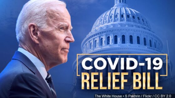 President Biden, COVID-19 relief bill graphic