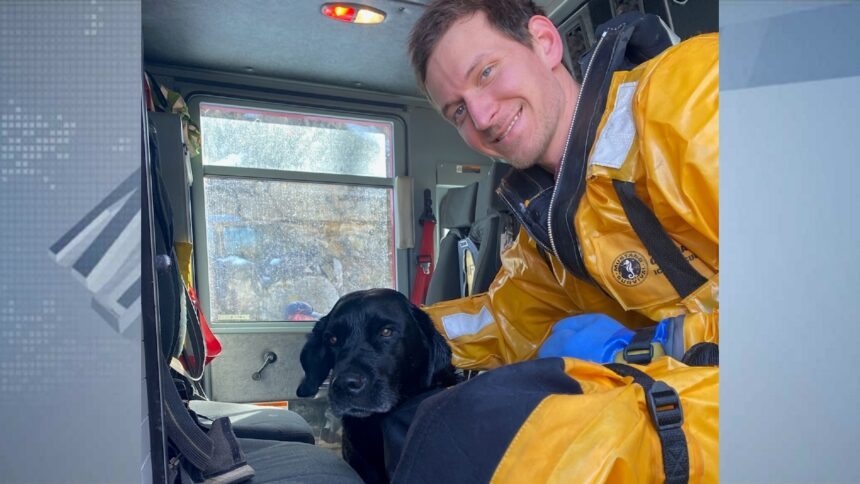 PIFD's Ben Lenz with rescued dog