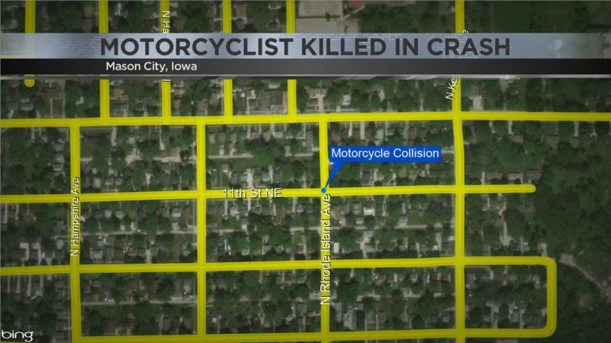 Map of motorcycle crash location