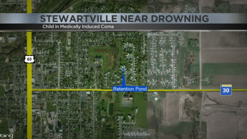 Map showing where near drowning happened