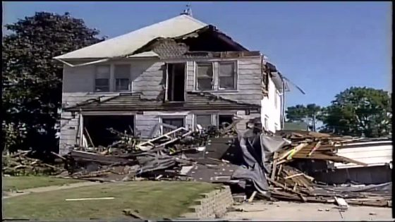 Damaged house in Lewiston from 1999 tornado