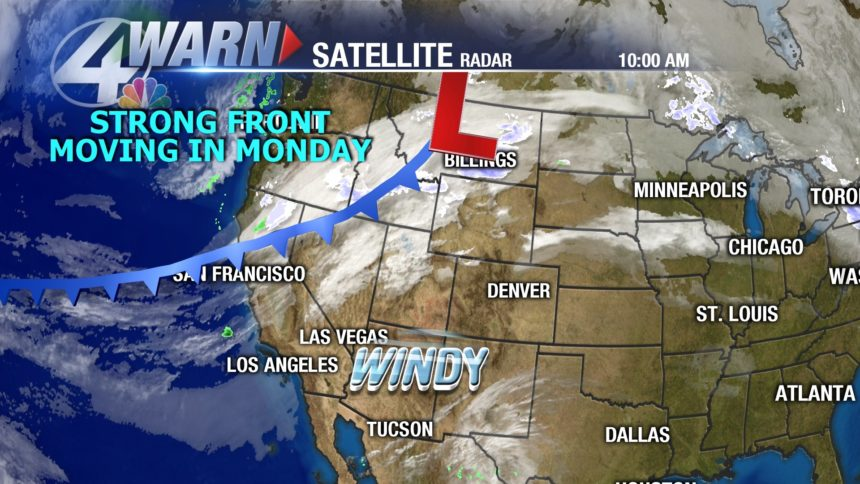A rainy and windy Monday will proceed a chance of snow Tuesday morning