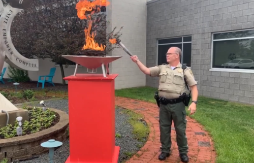 Iowa-Lighting the special olympics torch