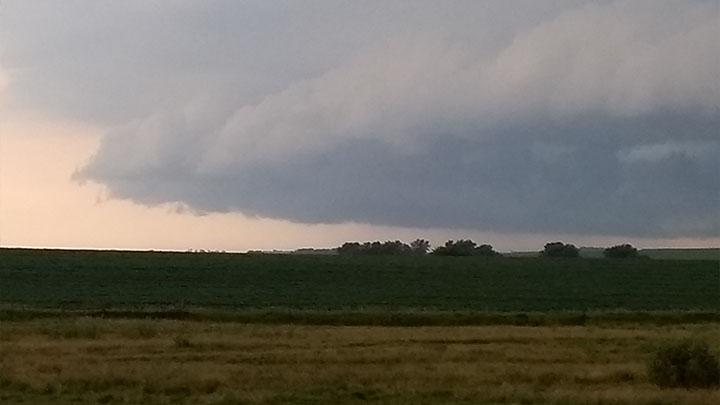 Storm Clouds 12 miles southeast of Le Mars spottted at about 7 p.m. - courtesy of Roger Demptser