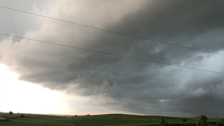 Storm clouds spotted over C-70 near Hinton, Iowa - courtesy of Megan Collins