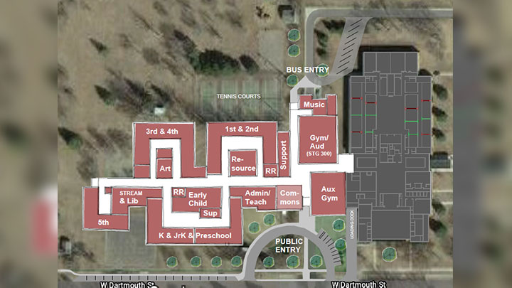 Map of addition to Vermillion Middle School