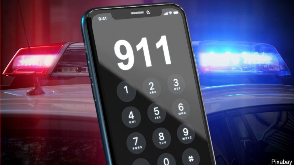 911 cell phone, police lights graphic