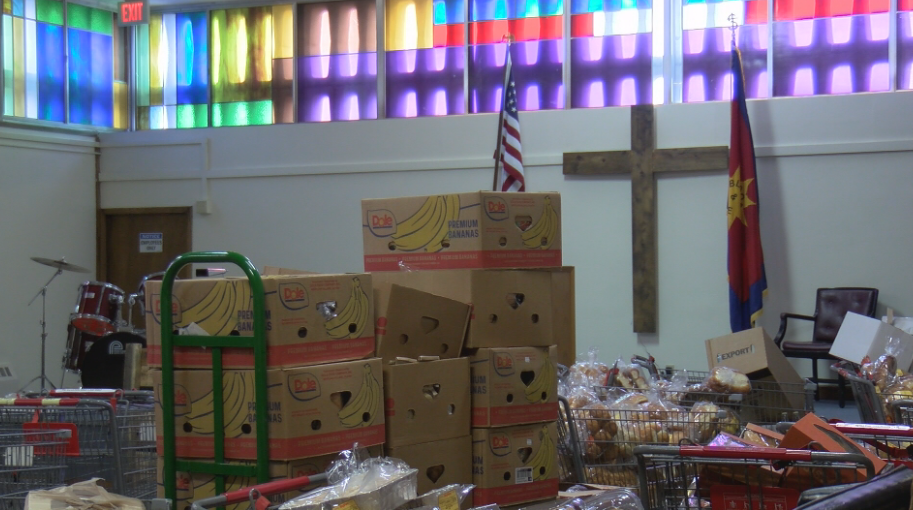 Salvation Army worship space used for food storage