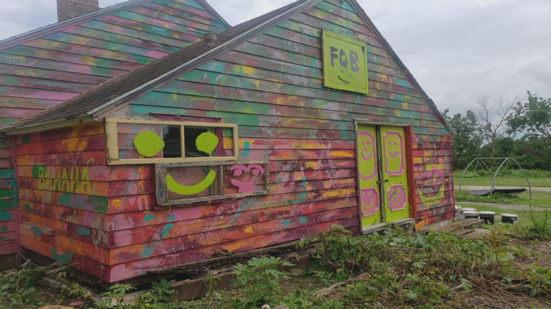 Knutson's repainted shed