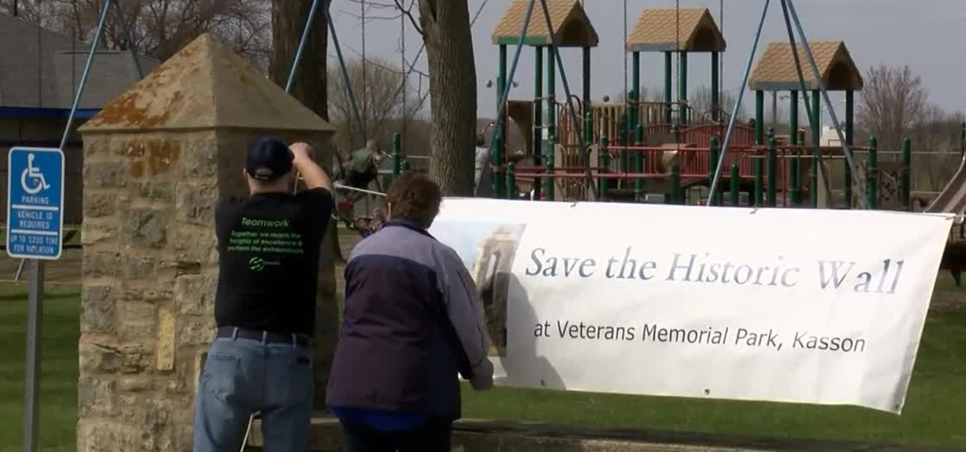 Kasson residents work to save historic wall at Veterans Memorial Park