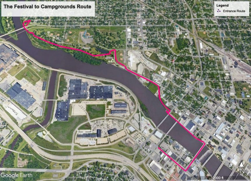 The Festival to Campgrounds Route