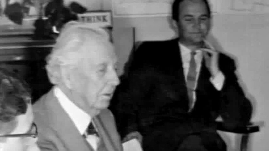 Frank LLoyd Wright meeting with city leaders in 1958, about the same time he completed plans for the Monona Terrace Convention Center. WKOW photo.