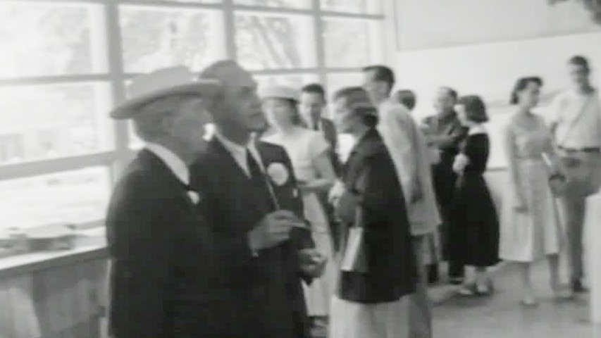 Frank LLoyd Wright meeting with city leaders in 1958, about the same time he completed plans for the Monona Terrace Convention Center.