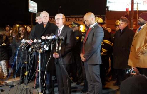 Wisconsin Gov. Tony Evers updates the media on the Feb. 26, 2020 mass shooting at Molson Coors in Milwaukee. WKOW photo