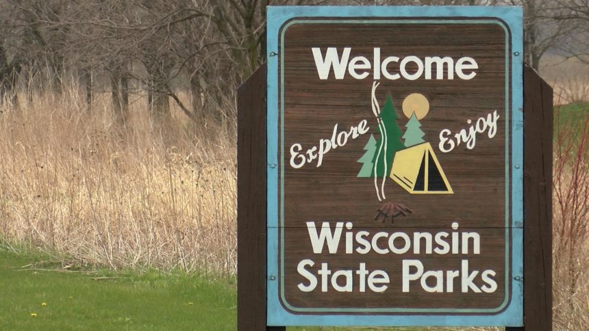 A welcome sign posted outside a Wisconsin state park.