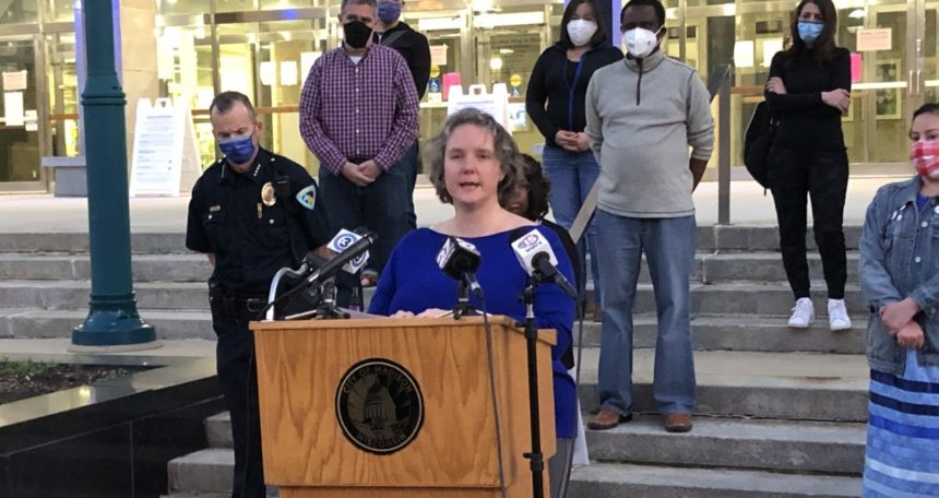Madison Mayor Satya Rhodes Conway calls for protests to remain peaceful following unrest in Madison. WKOW photo.