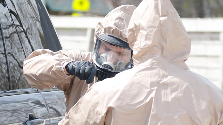 National Guard members are assisting with COVID-19 testing. Wisconsin National Guard Photo by Spc. Emma Anderson