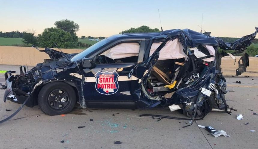 A Wisconsin State Patrol cruiser was demolished in a multi-incident crash Une 12 on I-39 in Columbia County.