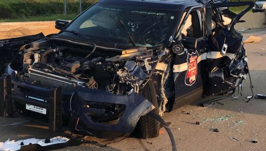 A Wisconsin State Patrol cruiser was demolished in a multi-incident crash Friday morning on I39 in Columbia County.
