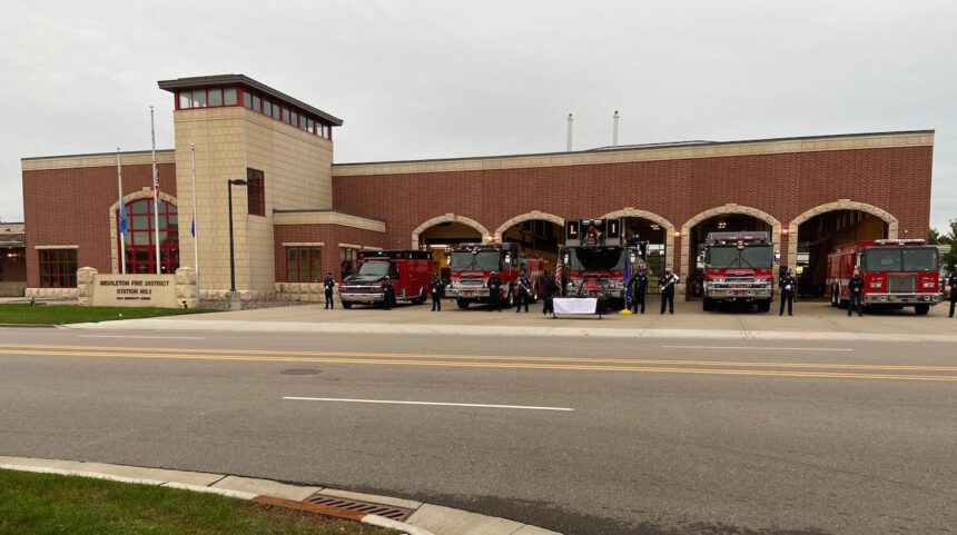 Firefighters hold a September 11 memorial ceremony at the Middleton fire station in 2020.