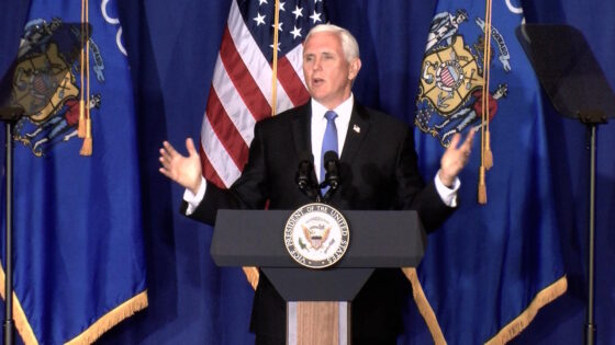Vice President Mike Pence speaks at a campaign rally in Janesville.