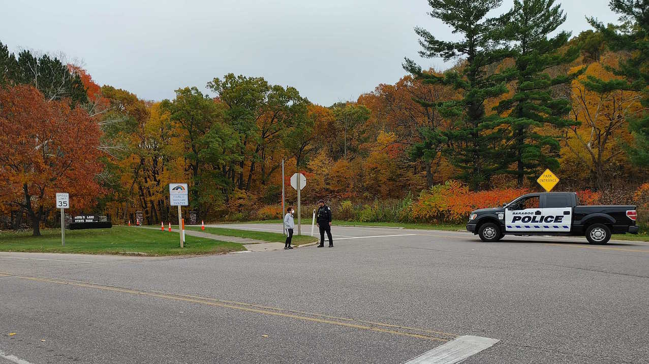 Baraboo police at the entrance to Devil's Lake State Park