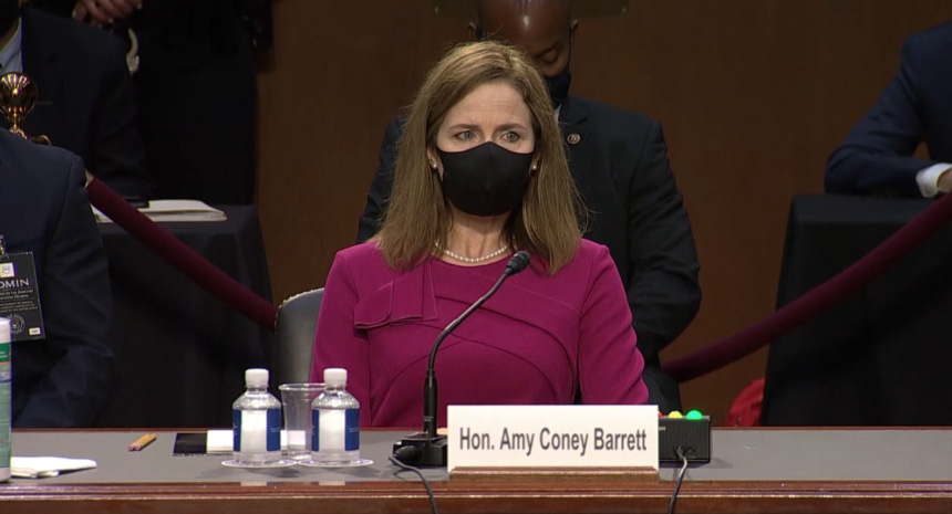 Judge Amy Coney Barrett waits to testify at her senate confirmation hearing to the U.S. Supreme Court.
