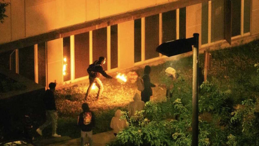 Surveillance video shows a firebombing June 24 at the City County Building in Madison following a night of unrest.