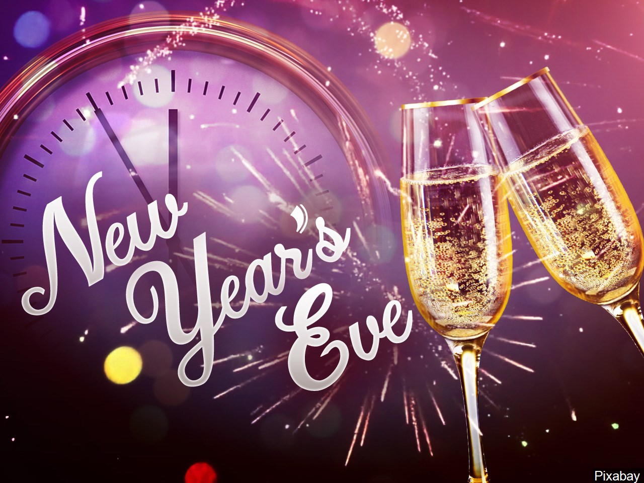 Glasses of Champaign in front of a clock nearing midnight and text that says New Year's Eve..