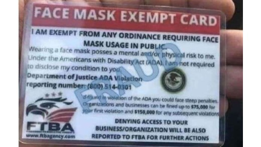 Mask exemption fraud
